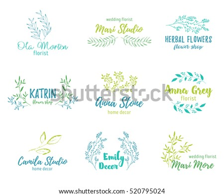 Vector hand drawn set elements for labels, logos and badges for health care,florist, photography, wedding,flower shop, cosmetics, spa and wellness, beauty salon