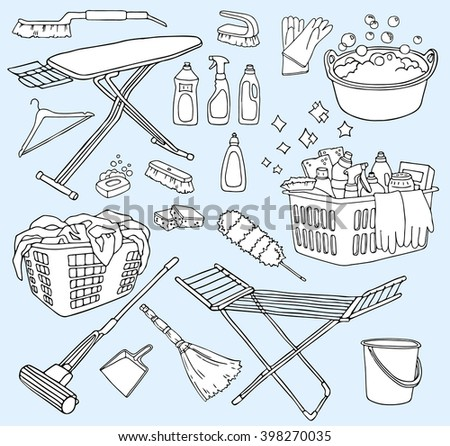 Vector Hand Drawn Set Of Cleaning Tools Service Supplies Doodle