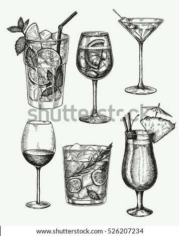 vector hand drawn set of