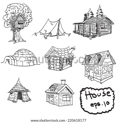 vector hand drawn set of houses