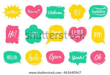 vector hand drawn set of speech