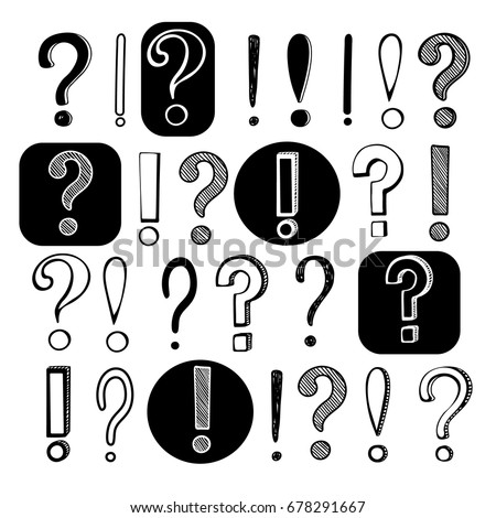 Vector hand drawn set on white background of question and exclamation  marks with black outlines