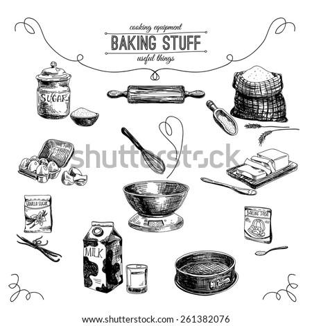 Vector hand drawn set. Vintage Illustration with milk, sugar, flour, vanilla, eggs, mixer, baking powder, rolling, whisk, spoon vanilla bean, butter and kitchen dish.