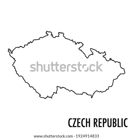 Vector hand drawn simple style illustration line contour drawing of the map of Czech Republic isolated on white background Foto stock ©