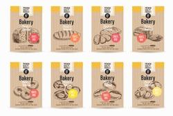 Vector hand drawn sketch bread posters set. Eco foods.Sketch illustration.