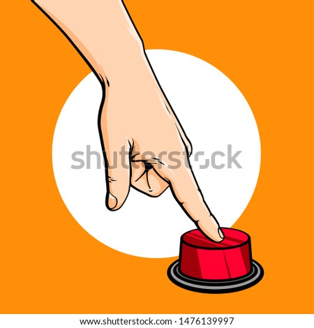 Vector hand drawn sketch cartoon illustration of human hand and finger, press red button, vector illustration isolated on orange background Foto d'archivio ©