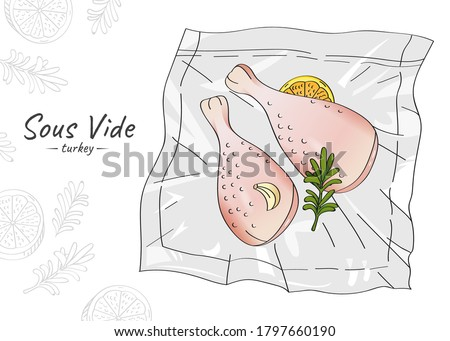 Vector hand drawn sketch illustration of raw turkey legs with spices and lemon vacuum packed. Sous-Vide Slow Cooking Technology. Photo stock ©