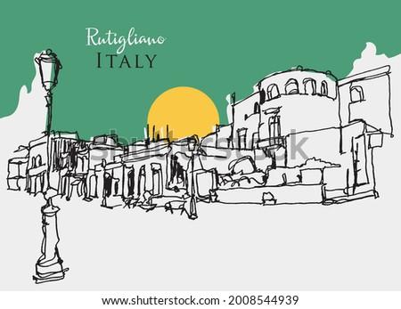 Vector hand drawn sketch illustration of Rutigliano, a commune in Bari, southern Italy Photo stock ©