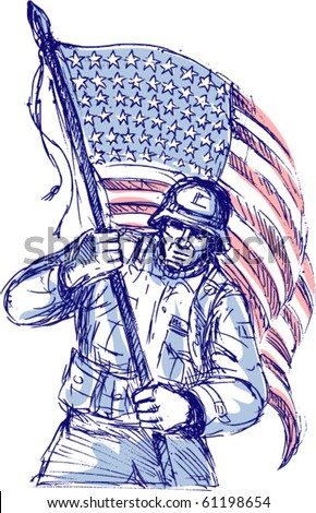 vector hand drawn sketch of an American soldier in full battle gear carrying stars and stripes flag isolated on white background