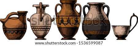 Vector hand drawn sketch of ancient greek vases set in ink hand drawn style.  Types of vases: Askos (pottery vessel), hydria, amphora, pelike, kyathos. Typology of Greek vase shapes.