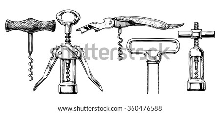 Vector hand drawn sketch of corkscrew set in ink hand drawn style.