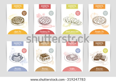 Vector hand drawn sketch restaurant desserts banners set. Sweets. Retro illustration.