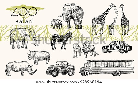 Vector hand drawn sketched animal set. Zoo safari: elephant, zebra, lion, rhino, giraffe and safari bus, safari jeep.