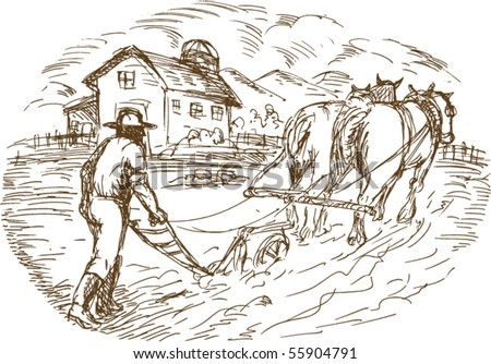 vector hand drawn sketched vector illustration of a Farmer and horse plowing the field with barn farmhouse - stock vector