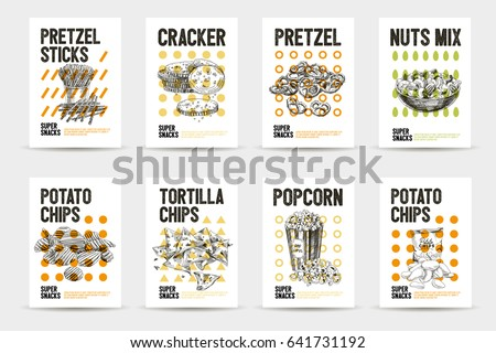 Vector hand drawn snack and junk food cards set. Vintage style sketch background. Template design