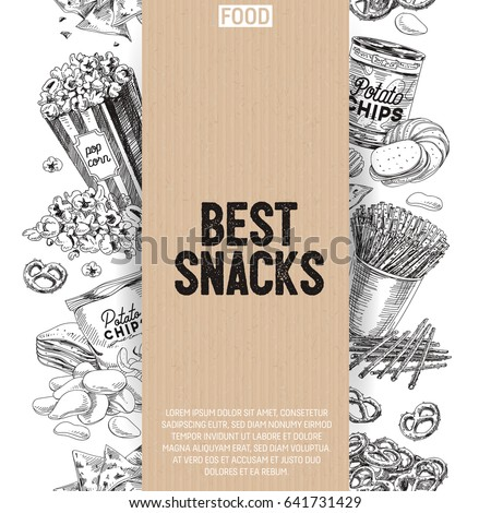 Vector hand drawn snack and junk food Illustration. Seamless border. Vintage style sketch background.