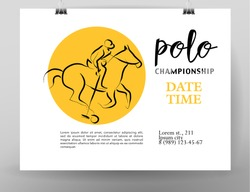 Vector hand drawn sportsman silhouette. Horse rider, polo player. Flat sport advertising design template. Placard, poster, banner, leaflet, card. Human figure.