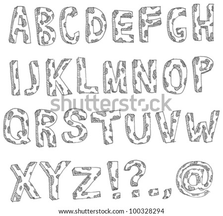 Vector hand drawn spotted alphabet
