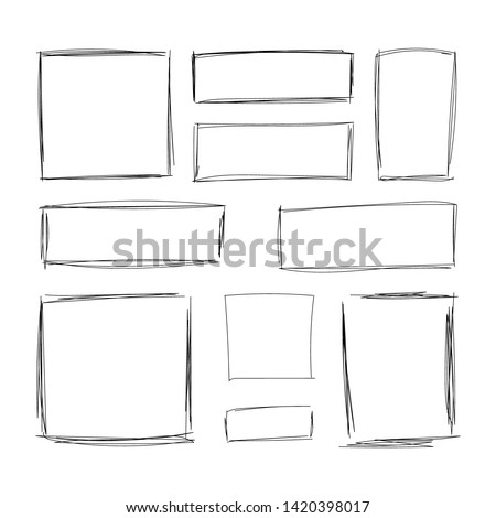 Vector hand drawn squares, blank drawing frames isolated on white background, black lines, rectangular and square shapes.