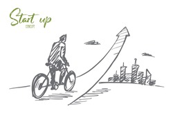 Vector hand drawn start up concept sketch with young businessman on bicycle riding up and big city at background