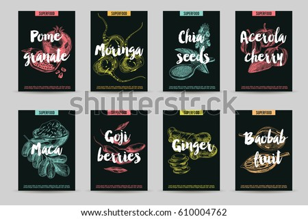 Vector hand drawn superfood cards set. Sketch vintage style. Poster collection. Design template. #610004762