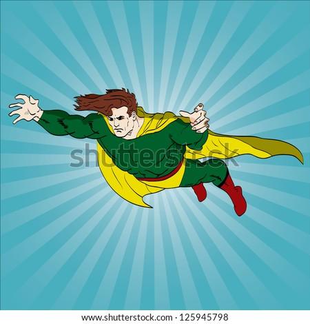 Vector hand drawn superhero flying - stock vector