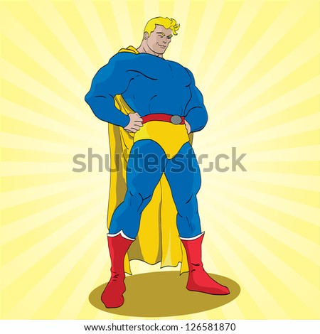 Vector hand drawn superhero posing