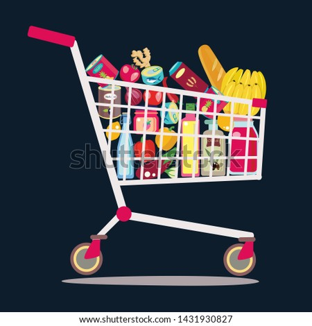 Vector hand drawn supermarket shopping cart full of fresh, healthy and natural product. Food store theme illustration.