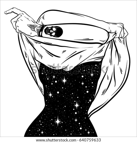 Stock Photo Vector hand drawn surreal  illustration  of undressing woman with space instead of body . Surreal tattoo artwork . Template for card, poster, banner, print for t-shirt.