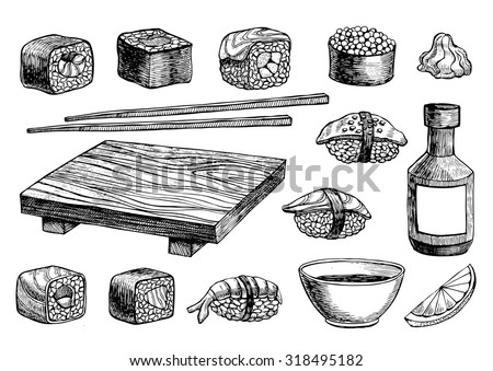 vector hand drawn sushi set