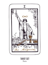 Vector hand drawn Tarot card deck.  Major arcana the Magician.  Engraved vintage style. Occult, spiritual and alchemy symbolism