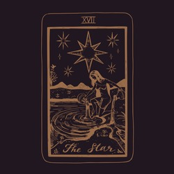 Vector hand drawn Tarot card deck.  Major arcana The Star.  Engraved vintage style. Occult, spiritual and alchemy symbolism