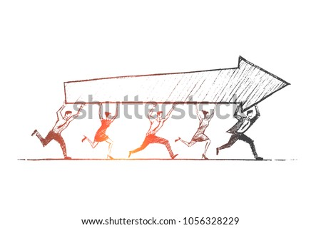 Vector hand drawn teamwork concept sketch. Team of five people running together and carrying indicator of success in common business.