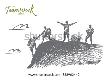 vector hand drawn teamwork