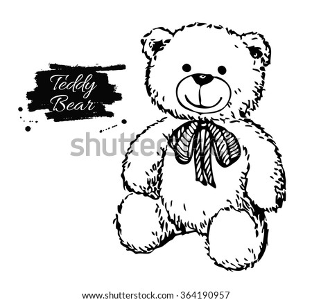 Stock Photo Vector hand drawn teddy bear illustration. Gift toy for Valentine's day, birthday, Christmas, holiday.