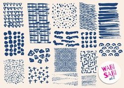Vector hand drawn textures. Hipster grunge drawings. Stripes, brushes, spots, blots, dots, triangles, waves and grids. Japanese brushstrokes. Boho prints. Ikat isolated elements. Memphis design.