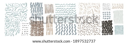 Vector hand drawn textures. Uneven natural hand-crafted lines, curved shapes, dots, daubs, smears, undulating waves, fluid shapes, patterns, organic details, brush strokes. Organic design elements Stockfoto ©
