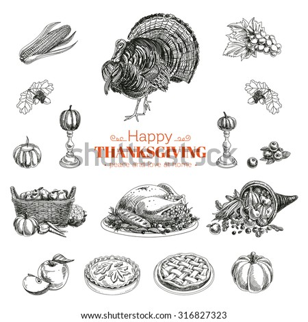 vector hand drawn thanksgiving