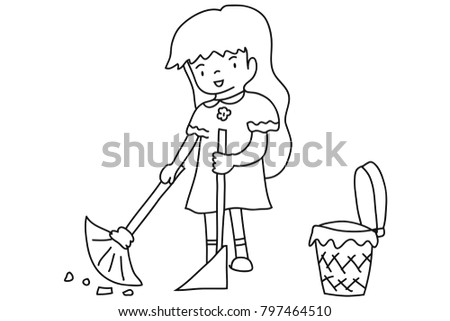 Vector Hand Drawn The Girl Sweeps House Cleaning Woman