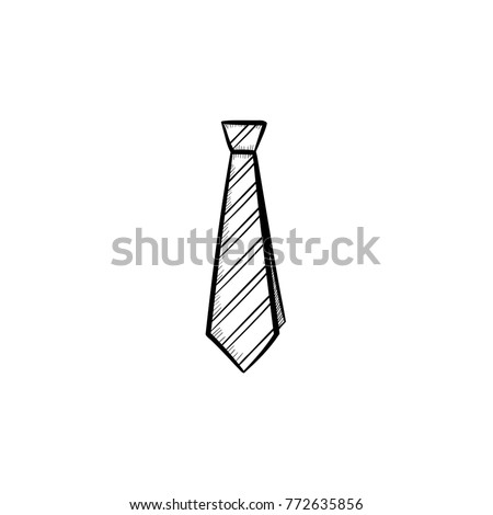 Vector hand drawn tie outline doodle icon. Tie sketch illustration for print, web, mobile and infographics isolated on white background. ストックフォト ©