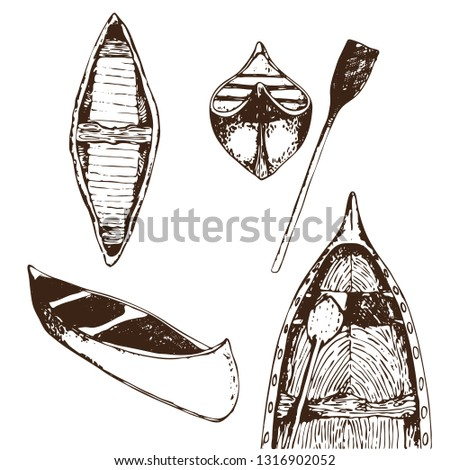 vector hand drawn traced set of canoes isolated on white. Contour only. Hiking and traveling themes.