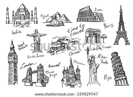 vector hand drawn travel icon sketch doodle