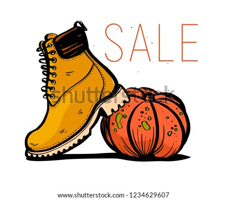 Vector hand drawn trendy fashion illustration with sale theme and autumn / spring boots and pumpkin isolated on white background. Marker sketch style. Good for banner, ad, flayer, tag, packaging etc.