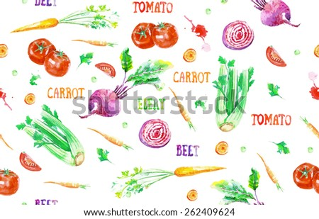 Vector hand drawn vegetable pattern. Seamless watercolor vegetables pattern. Seamless kitchen background of vegetables. Carrot, tomato, beet, celery. Healthy food. #262409624