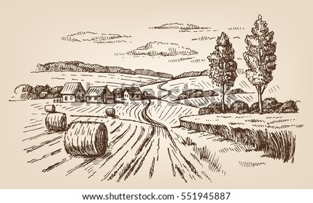 vector hand drawn village