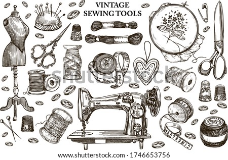 Vector Hand-drawn vintage sewing kit. Sewing machine,needle,stitching,mannequin,scissors,buttons,needle spoon,embroidery elements,meter,tailor.Graphic elements in sketch style on white background Photo stock ©