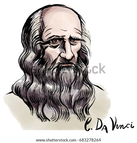 Vector hand drawn watercolor portrait with famous artist Leonardo da Vinci and his signature.