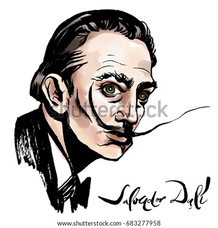 Vector hand drawn watercolor portrait with famous artist Salvador Dali and his signature.  - Shutterstock ID 683277958