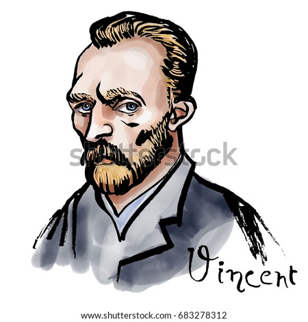 Vector hand drawn watercolor portrait with famous artist Vincent van Gogh and his signature.