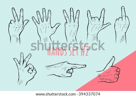 vector hand gesture set pencil